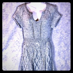 Free People Grey Fit And Flare Knit Dress, Medium